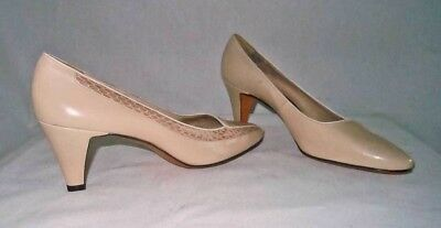 NOS New old Stock Deadstock Pumps Nude Leather Snakeskin Trim Bally Shoes 6.5