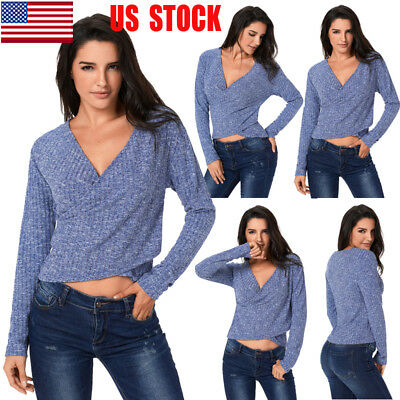 US Womens Wrap V Neck Knitted Crop Top Long Sleeve T Shirt Jumper Casual Sweater