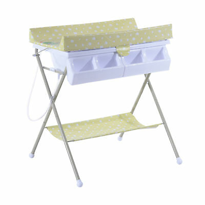 HOMCOM Infant Folding Changing Table Bath Station Tub Baby Changer Padded Mat