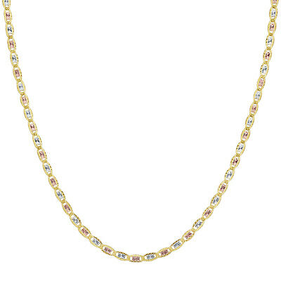 14k Three Tone Gold 18 inch 2mm Valentino Chain Necklace #UN005-18