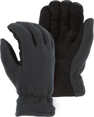 THERMAL Heat-Lock Insulated-Deer Leather Gloves-Black-GRAY- WOMENS Medium-Size 7