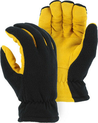 Heat-Lock Insulated-Deer Suede Leather Gloves-Black-TAN- WOMENS Large-Size 8