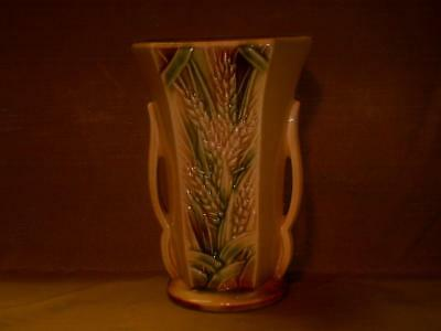 "Vintage McCoy Pottery Wheat Vase-1950's-8 1/2"" Tall-Yellow-Brown-Green-USA"