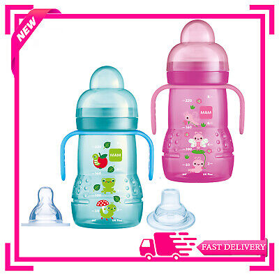 MAM Trainer Bottle Blue,Pink or Green 4+ Months 1 2 3 6 12 Packs Multiple Saving