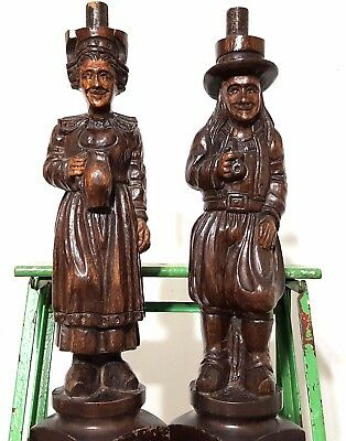 """Brittany Column Sculpture 20"""" Matched Pair Antique French Carved Wood Pedestal"""