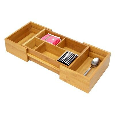 Bamboo Small Adjustable Drawer Inserts Organiser Kitchen Cutlery Tray