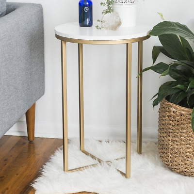Vintage Side Table Antique Gold Small Accent Coffee End Metal Stand