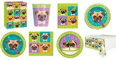 Pug Puppy Dog Birthday Party Tableware Supplies Decorations Plates