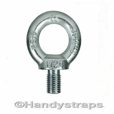 Lifting Eye Bolts 12mm Bright Zinc Plated Towing Bolts Lifting Gear Handy Straps