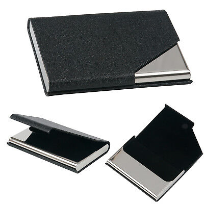 Black Business Card Holder with Sleek Faux Leather Finish - By TRIXES