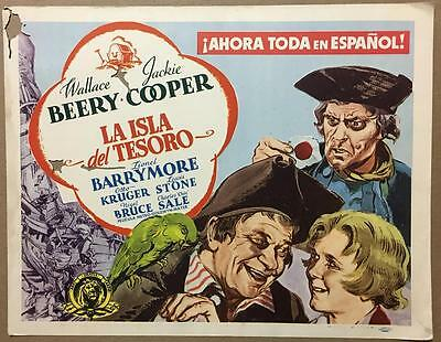 Jackie Cooper Wallace Beery 1934 great art Treasure Island title lobby card 740