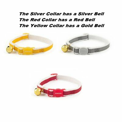 Ancol Reflective Cat Collar with Bell in Red , Silver, Yellow