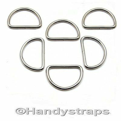 6 x 25mm Metal WELDED D Ring Buckles for Webbing Handy Straps