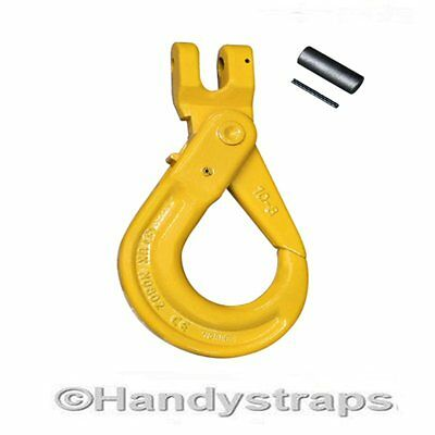 13mm Clevis Self Locking Hooks with Latch -  Lifting Chain hooks Handy Straps
