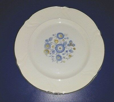 6 Taylor Smith Taylor Vogue Blue Yellow Flowers Platinum Trim Dinner Plates