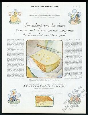 1928 Swiss Cheese from Switzerland color illustrated vintage print ad