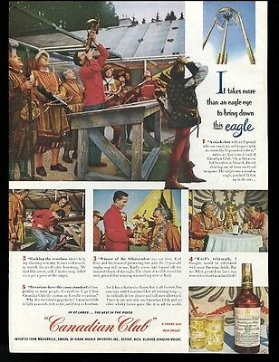 1953 Bavaria crossbow shooting festival Canadian Club whisky vintage print ad