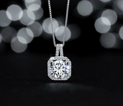 Fashion Charm White Gold Plated CZ Pendant Necklace Clavicle Chain Jewelry Gift