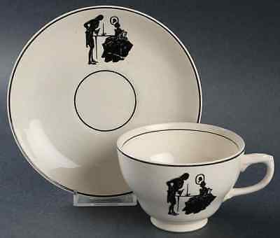 Harker COLONIAL LADY BLACK TRIM Cup & Saucer 9981193