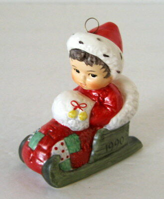NEW Goebel Charlot Byj Christmas Ornament 1990 Santa Suit Baby in Sled Germany