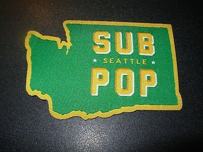 "SUB POP RECORDS Embroidered Patch WASHINGTON SEATTLE LOGO 3.5"" pearl jam nirvana"