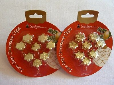 Christmas Ornament Sure Grip Clips Hooks 16 Gold Snowflakes For Trees & Wreaths