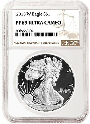 2018 W Silver Eagle Proof NGC PF69 Ultra Cameo - Brown Label
