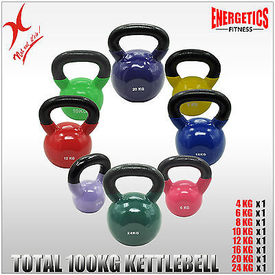 4+6+8+10+12+16+20+24Kg - Total 100Kg Iron Vinyl Kettlebell Weight Gym Training