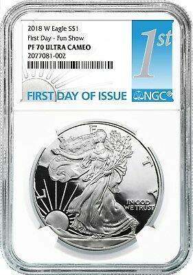 2018 W Silver Eagle Proof NGC PF70 Ultra Cameo - First Day - Fun Show - 10 Pack