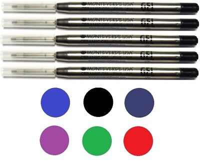 5 Monteverde Ballpoint Pen Refills, Parker Style, GEL Ink, Fine Point