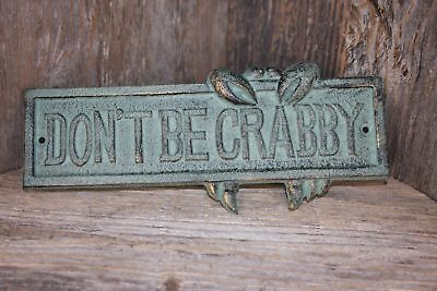Vintage Crabshack Design Decor, Don't Be Crabby Wall Plaque, Cast Iron, BL-66
