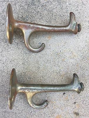 VINTAGE PAIR OF (2) WALL MOUNT BRASS BATHROOM HOOKS w/END KNOB FOR DRAWSTRING