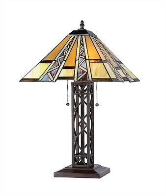 """PAIR Hand-crafted Mission Tiffany Style Stained Glass Table Lamps 24"""" Tall"""
