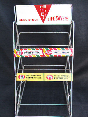 VINTAGE 1960s LIFESAVERS CANDY, BEECH-NUT CHEWING GUM STORE DISPLAY RACK SIGN