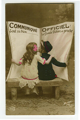 WWI ww1 First World War One First KISSING KIDS Cute tinted photo postcard
