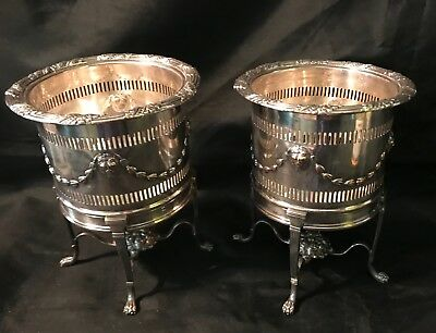 Rare Antique Pair 19th Century Silver Plate Wine Coolers