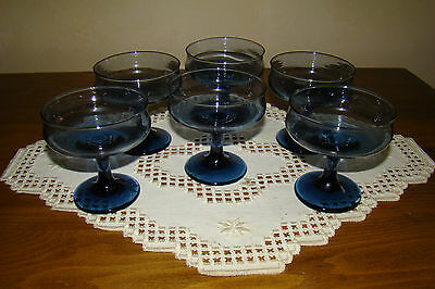 """Set of 6 -  Blue-Gray Colored Footed Sherbert Dessert Dishes ..approx 4"""" tall"""