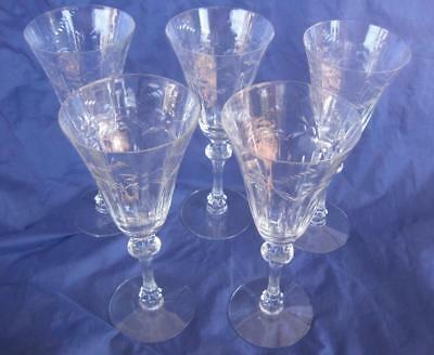 """Lot 5 Tiffin Clear Cut Crystal Ribbed Stem Water Goblet Glasses 8.25"""" Lot B"""