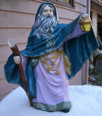 Ceramic Wizard,hand painted,vintage,staff w/ real quartz point,teal blue,gold