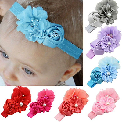Hairband with Flowers Rose Pearl Satin Baby Girl Hair Accessories Headband