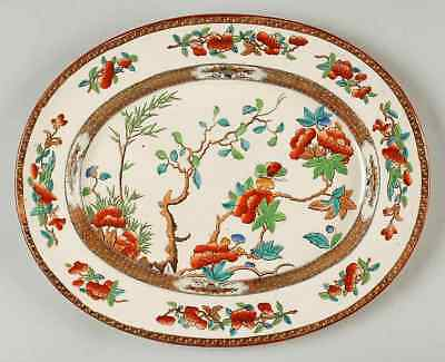 """Spode INDIAN TREE (TURQ GREEN RUST, SMOOTH) 13"""" Oval Serving Platter 681934"""