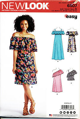 New Look Sewing Pattern 6507 Misses 6-24 Off Shoulder Dress & Maxi - Plus Sizes