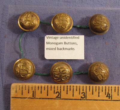 Antique Lot Of 6 Unidentified Monogram Brass Buttons Military ?
