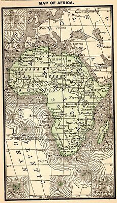 1888 Antique AFRICA Map RARE MINIATURE Vintage Map of Africa #4655