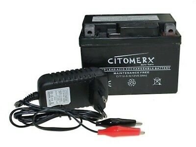 Scooter Battery 12V 5AH + Charger CI500 for Rex RS 250 450 460 500 600