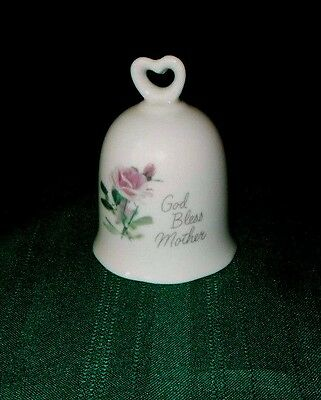 """3-1/2"""" Porcelain Bell with heart handle """"God Bless Mother"""" pink roses"""