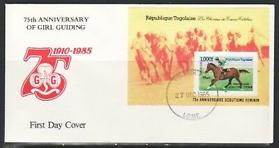 Togo, Scott cat. 1355. Girl Guides o/p on Race Horse s/sheet. First day cover.