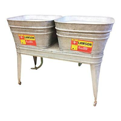 Vintage Double Basin Wash Tub stand metal galvanized rustic beer cooler LAWSON 2