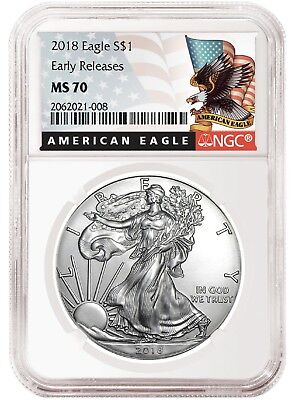 2018 1oz Silver American Eagle NGC MS70 Early Releases Black Label