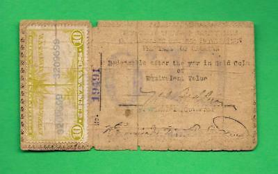 PHILIPPINES 1942 (ND) 10 CENTAVO CAGAYAN CURRENCY W/ REVENUE STAMP S-161a